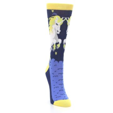 Image of Navy Yellow Unicorn Women's Dress Socks (side-1-front-03)