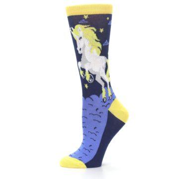 Image of Navy Yellow Unicorn Women's Dress Socks (side-2-11)