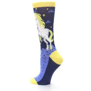 Image of Navy Yellow Unicorn Women's Dress Socks (side-2-back-14)
