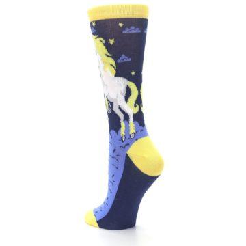 Image of Navy Yellow Unicorn Women's Dress Socks (side-2-back-15)