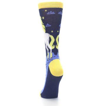 Image of Navy Yellow Unicorn Women's Dress Socks (back-17)