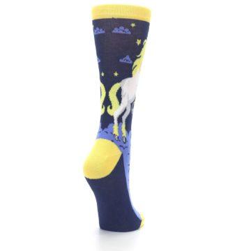 Image of Navy Yellow Unicorn Women's Dress Socks (side-1-back-21)