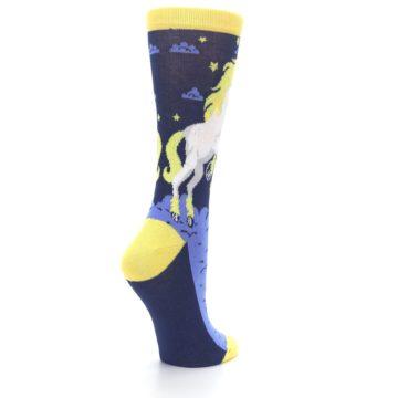 Image of Navy Yellow Unicorn Women's Dress Socks (side-1-back-22)