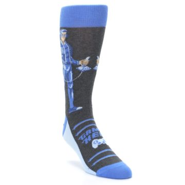 Image of Blue Video Game Hero Men's Dress Socks (side-1-front-02)