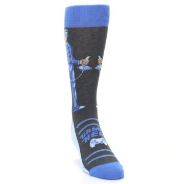 Image of Blue Video Game Hero Men's Dress Socks (side-1-front-03)