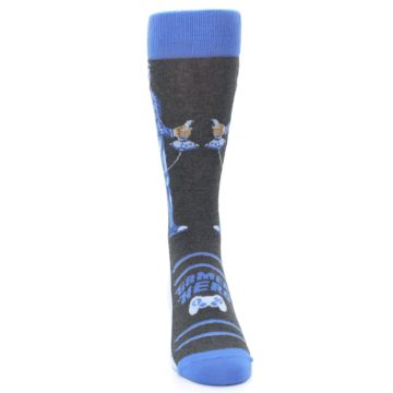 Image of Blue Video Game Hero Men's Dress Socks (front-04)