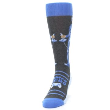 Image of Blue Video Game Hero Men's Dress Socks (side-2-front-06)