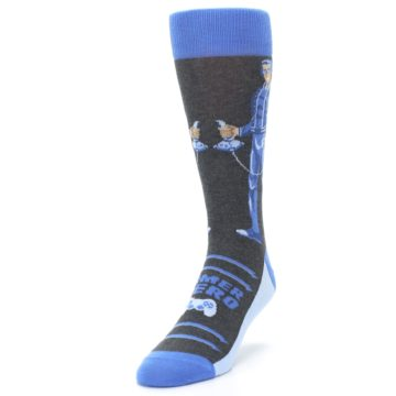 Image of Blue Video Game Hero Men's Dress Socks (side-2-front-07)