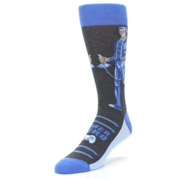 Image of Blue Video Game Hero Men's Dress Socks (side-2-front-08)