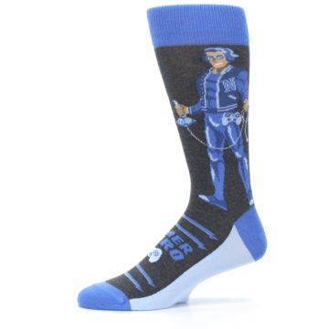 Image of Blue Video Game Hero Men's Dress Socks (side-2-11)