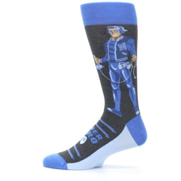 Image of Blue Video Game Hero Men's Dress Socks (side-2-12)