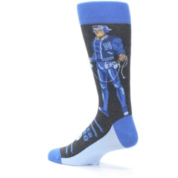 Image of Blue Video Game Hero Men's Dress Socks (side-2-back-14)