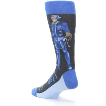 Image of Blue Video Game Hero Men's Dress Socks (side-2-back-15)