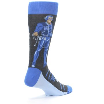 Image of Blue Video Game Hero Men's Dress Socks (side-1-back-22)