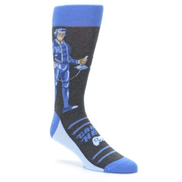 Image of Blue Video Game Hero Men's Dress Socks (side-1-27)