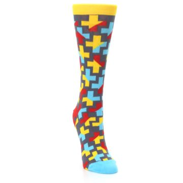 Image of Yellow Gray Red Blue Plus Women's Dress Socks (side-1-front-03)