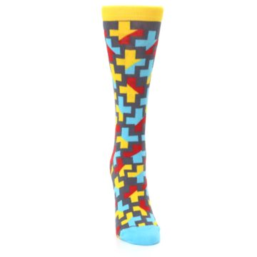 Image of Yellow Gray Red Blue Plus Women's Dress Socks (front-04)