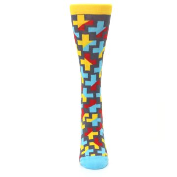 Image of Yellow Gray Red Blue Plus Women's Dress Socks (front-05)