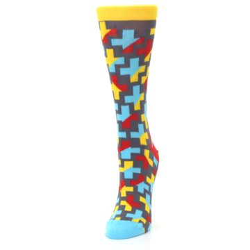 Image of Yellow Gray Red Blue Plus Women's Dress Socks (side-2-front-07)