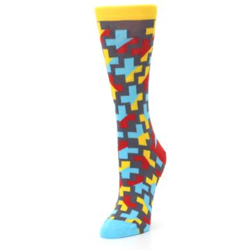 Image of Yellow Gray Red Blue Plus Women's Dress Socks (side-2-front-08)