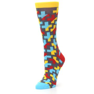 Image of Yellow Gray Red Blue Plus Women's Dress Socks (side-2-09)