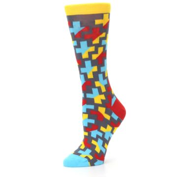 Image of Yellow Gray Red Blue Plus Women's Dress Socks (side-2-10)