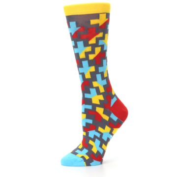Image of Yellow Gray Red Blue Plus Women's Dress Socks (side-2-11)