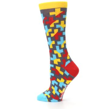 Image of Yellow Gray Red Blue Plus Women's Dress Socks (side-2-13)