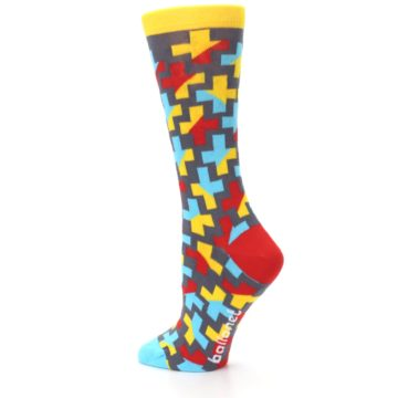 Image of Yellow Gray Red Blue Plus Women's Dress Socks (side-2-back-14)