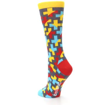 Image of Yellow Gray Red Blue Plus Women's Dress Socks (side-2-back-15)