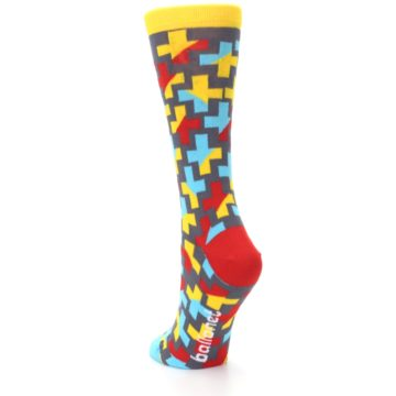Image of Yellow Gray Red Blue Plus Women's Dress Socks (side-2-back-16)