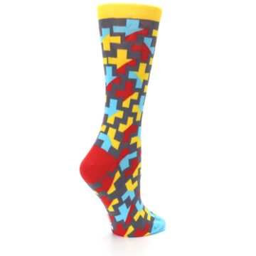 Image of Yellow Gray Red Blue Plus Women's Dress Socks (side-1-23)