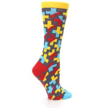 Image of Yellow Gray Red Blue Plus Women's Dress Socks (side-1-24)