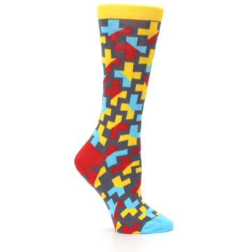 Image of Yellow Gray Red Blue Plus Women's Dress Socks (side-1-25)