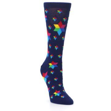 Image of Navy Multicolor Stars Women's Dress Socks (side-1-front-02)