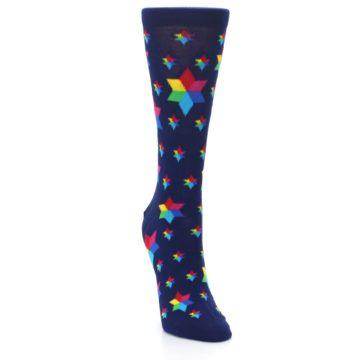 Image of Navy Multicolor Stars Women's Dress Socks (side-1-front-03)