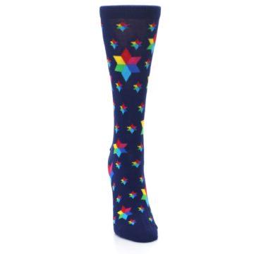Image of Navy Multicolor Stars Women's Dress Socks (front-04)
