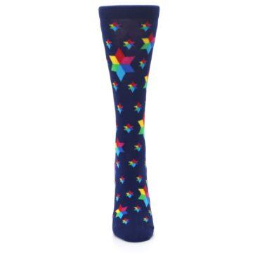 Image of Navy Multicolor Stars Women's Dress Socks (front-05)