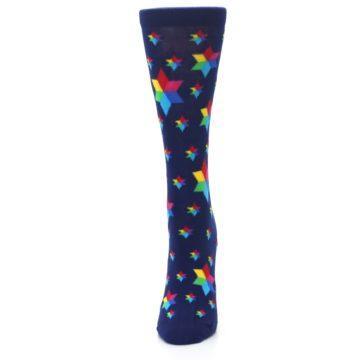 Image of Navy Multicolor Stars Women's Dress Socks (side-2-front-06)
