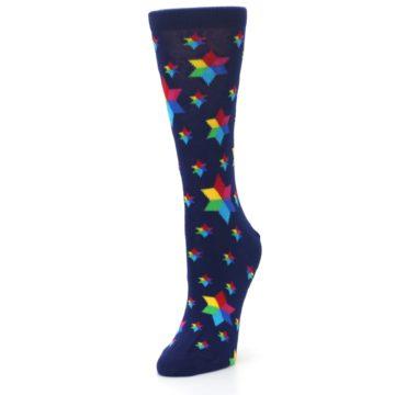 Image of Navy Multicolor Stars Women's Dress Socks (side-2-front-08)