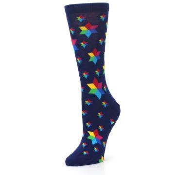 Image of Navy Multicolor Stars Women's Dress Socks (side-2-09)