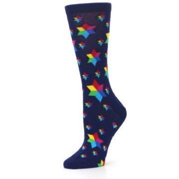 Image of Navy Multicolor Stars Women's Dress Socks (side-2-10)