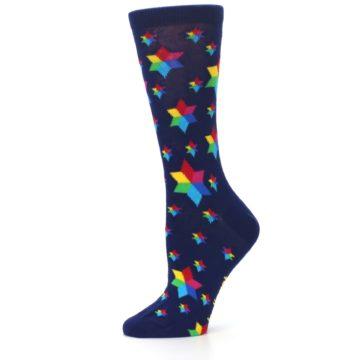 Image of Navy Multicolor Stars Women's Dress Socks (side-2-11)