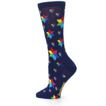Image of Navy Multicolor Stars Women's Dress Socks (side-2-13)