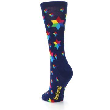 Image of Navy Multicolor Stars Women's Dress Socks (side-2-back-16)