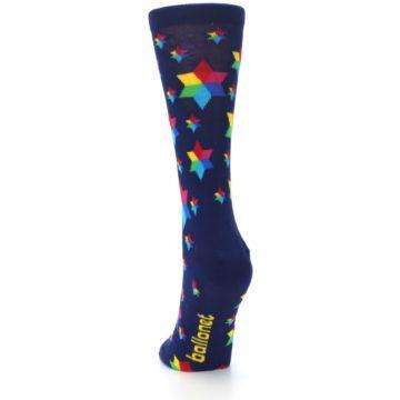 Image of Navy Multicolor Stars Women's Dress Socks (back-17)