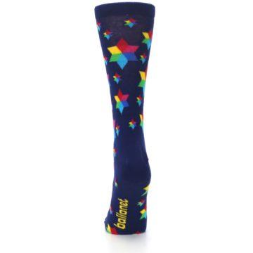 Image of Navy Multicolor Stars Women's Dress Socks (back-18)