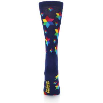 Image of Navy Multicolor Stars Women's Dress Socks (back-19)