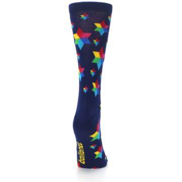 Image of Navy Multicolor Stars Women's Dress Socks (side-1-back-20)