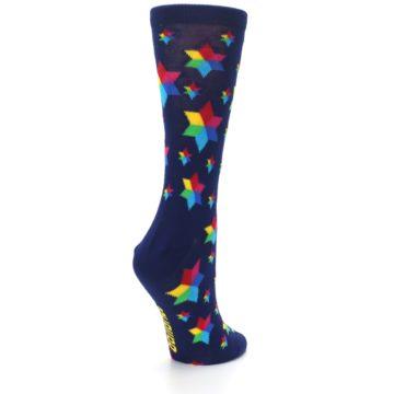 Image of Navy Multicolor Stars Women's Dress Socks (side-1-back-22)